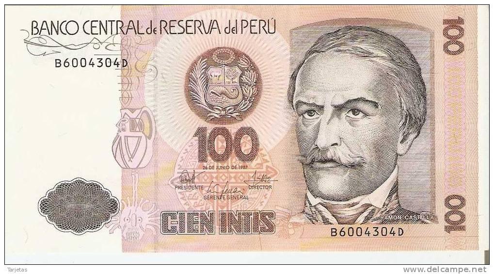 BILLETE DE PERU DE 100 INTIS  (BANKNOTE) SIN CIRCULAR - Perú