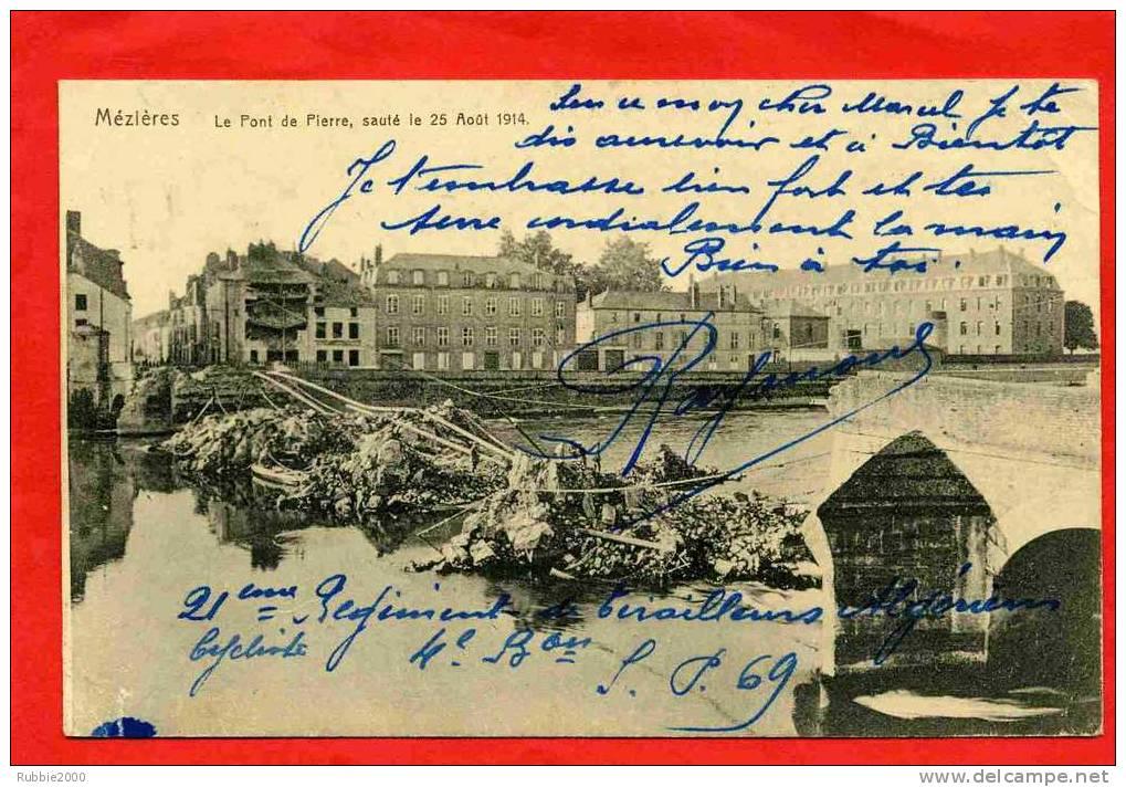 CHARLEVILLE MEZIERES 1918 PONT DE PIERRE SAUTE LE 25 AOUT 1914 CARTE EN BON ETAT - Charleville
