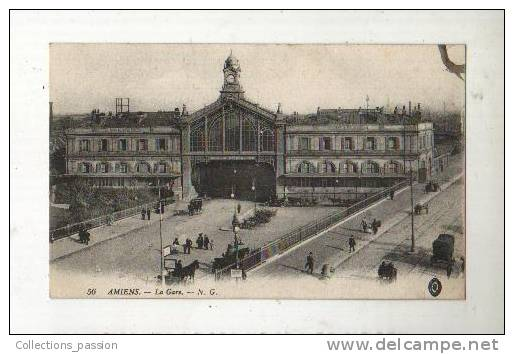 Cp, 80, Amiens, La Gare, Voyagée - Amiens
