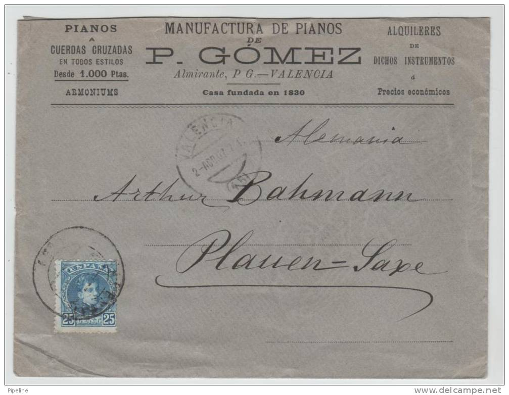 Spain Nice Cover Sent To Germany Valencia 2-8-1907 - Lettres & Documents