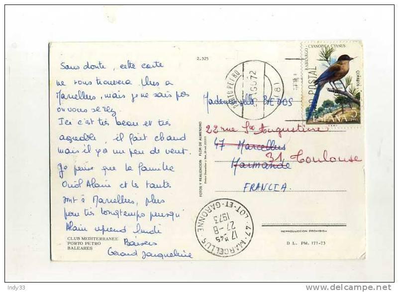 - ESPAGNE 1971/80 . AFFRANCHISSEMENT SIMPLE SUR CP DE 1972  POUR LA FRANCE . ARRIVEE EN 73 - 1931-Oggi: 2. Rep. - ... Juan Carlos I