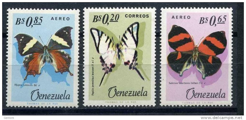 VENEZUELA 1966 Butterflies Odd Values Yvert Cat. N° 731+Air 873/74 Absolutely Perfect MNH ** - Butterflies