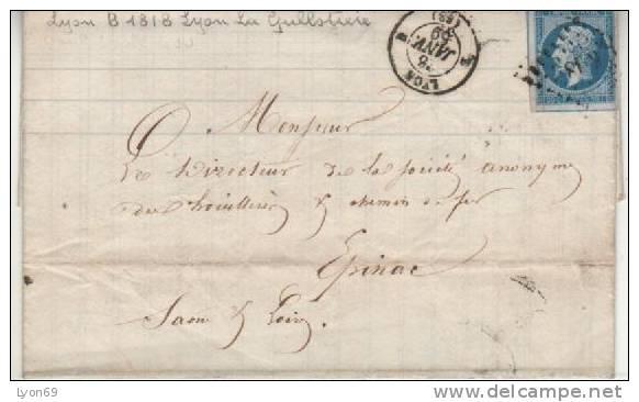 SEUL SUR LETTRE   LYON  1818 B - Marcofilia (sobres)