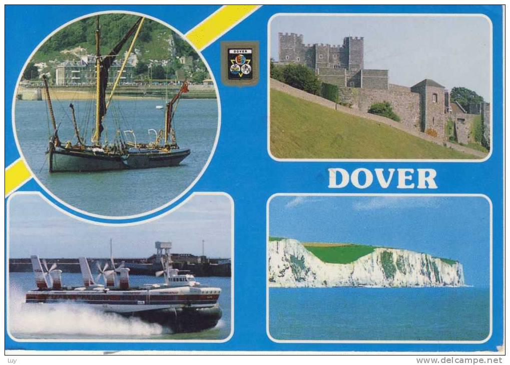 DOVER - Harbour, Castle, Hovercraft Entering Western Docks, White Cliffs Of Dover (Air Mail) - Dover