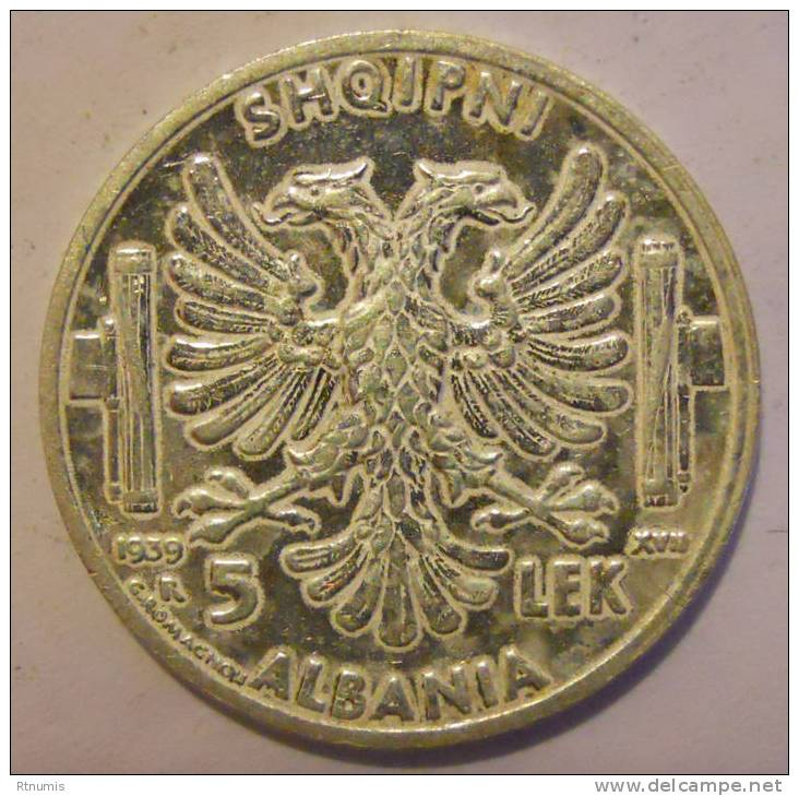 Albanie Albania 5 Lek Argent 1939 R UNC ! - Albanie