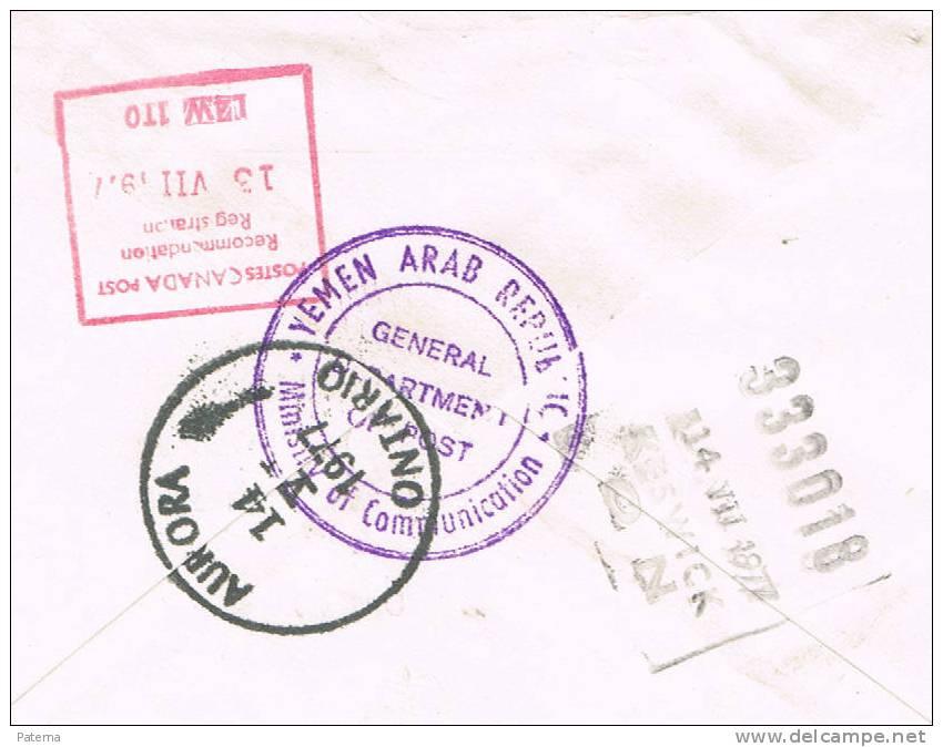 3318 Carta, Certificada, SANAA, (Yemen )1977, Service Des Postes, - Yemen