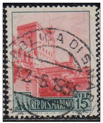8151 San Marino 1955 Vedute £ 15 Usato - San Marino