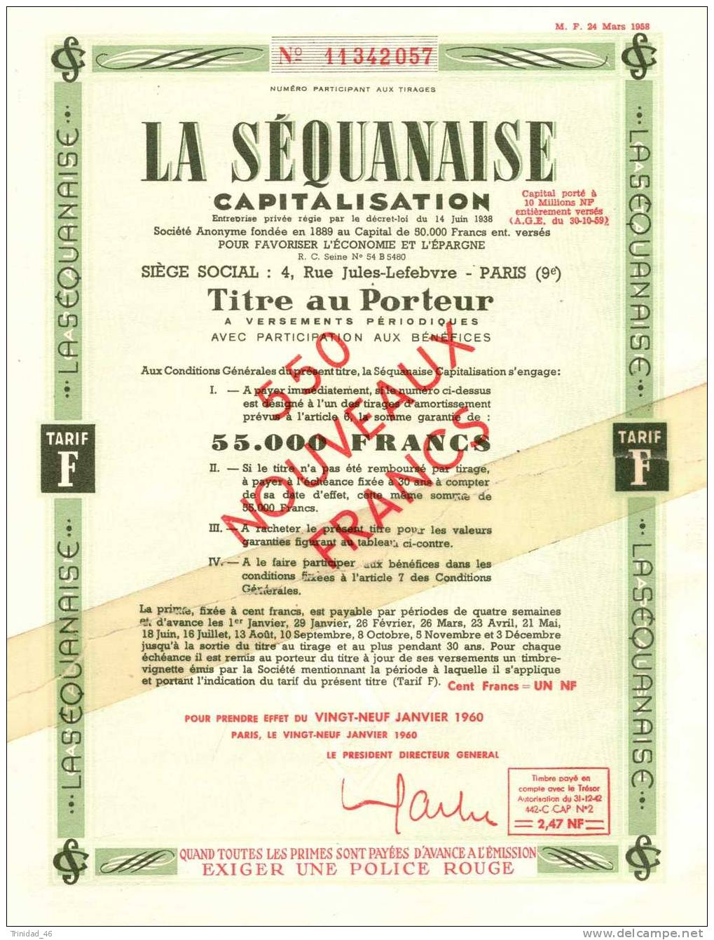 TITRE ACTION LA SEQUANAISE - Banque & Assurance