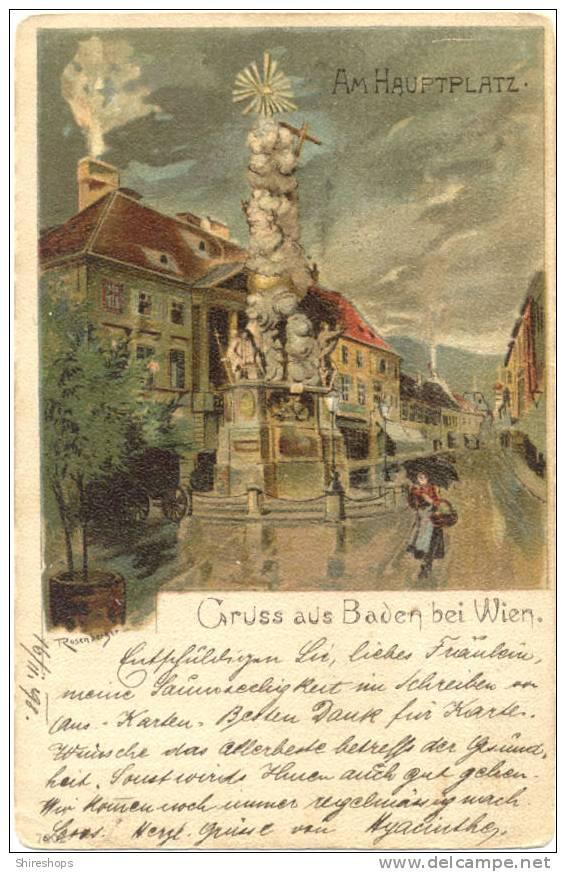 GRUSS AUS BADEN BEI WIEN AM HAUPTPLATZ 1898 - 1850-1918 Empire