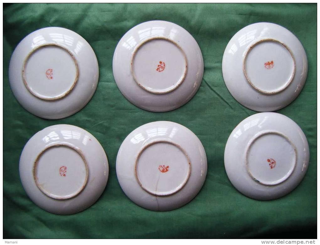 Lot De  6 Soucoupes Seules -decor Asiatique---diametre Soucoupe  11cm + Eclats Et Fels -voir Signature - Art Asiatique