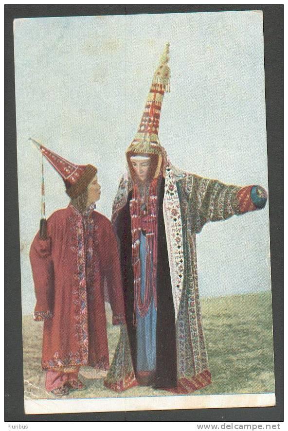IMPERIAL RUSSIA ,  KYRGYSTAN KYRGYZ WOMEN IN ETHNIC COSTUME, OLD POSTCARD - Kyrgyzstan