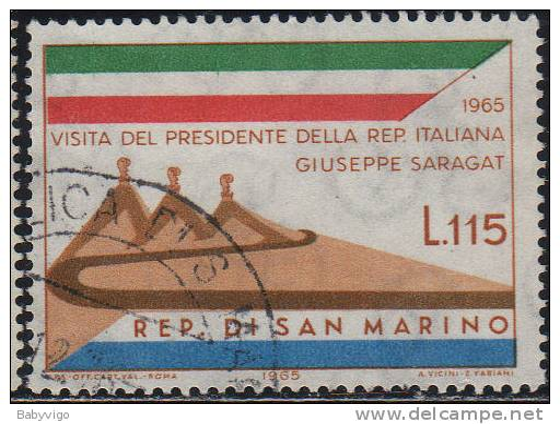 8193 San Marino 1965 Visita Del Presidente Saragat £ 115  Usato - San Marino