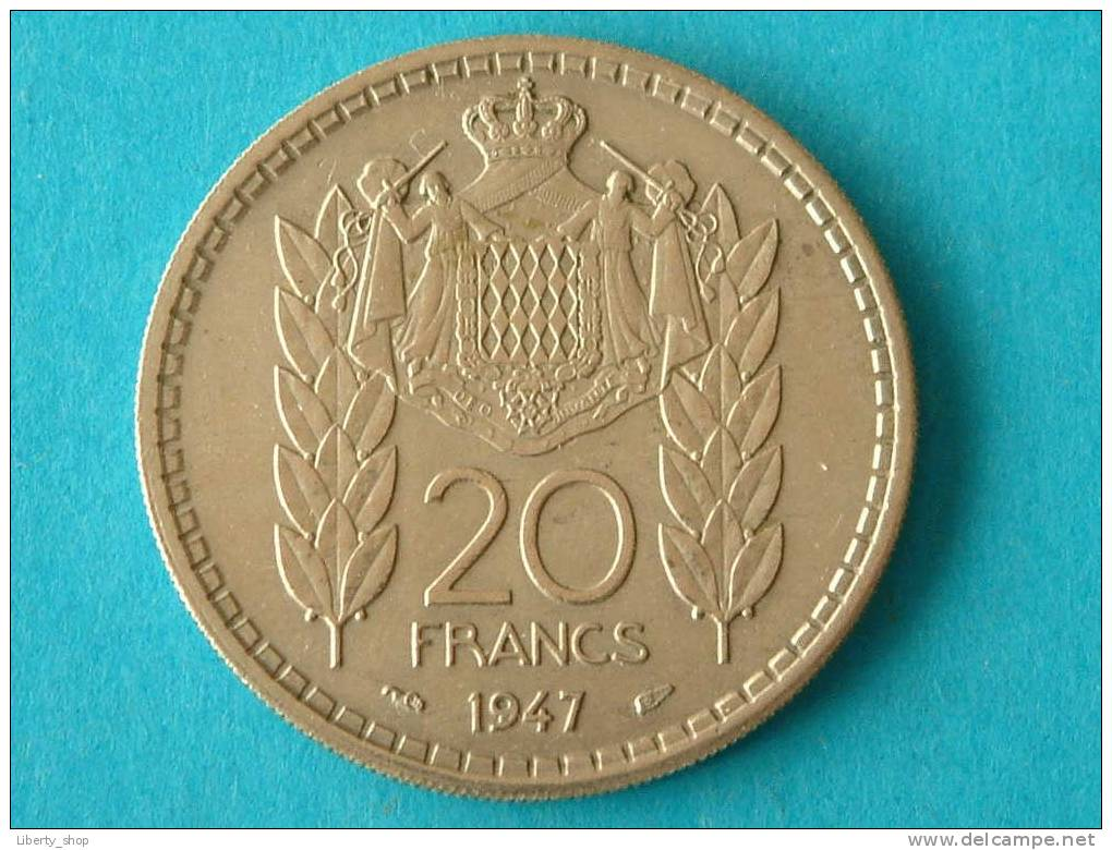 20 FRANCS 1947 / KM 124 ( For Grade, Please See Photo ) !! - Monaco