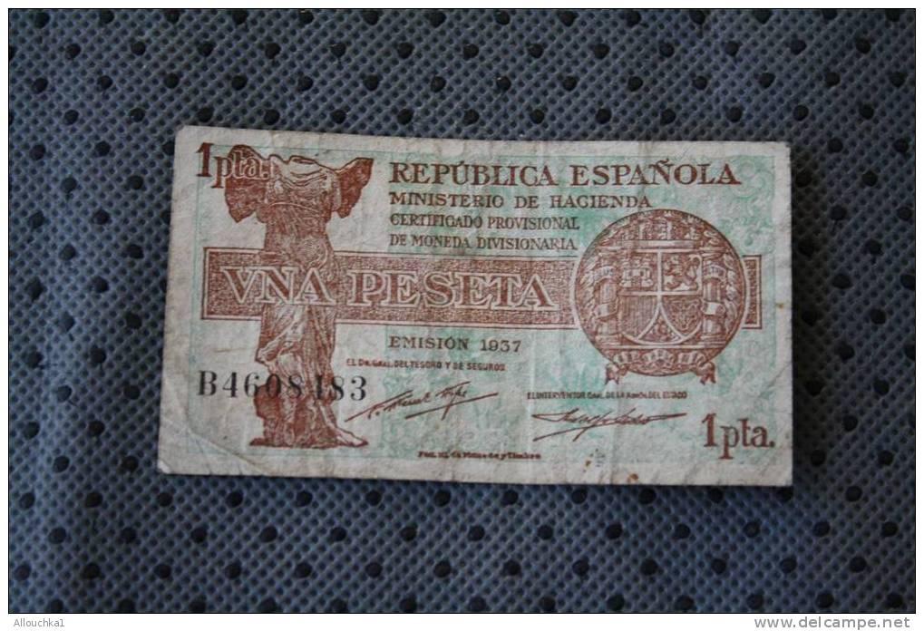 BILLET DE BANQUE DE LA BANK  BANCO DE REPUBLIQUE ESPANA  ESPAGNE  DE 1  PESETA 1937 - [ 3] 1936-1975 : Régence De Franco