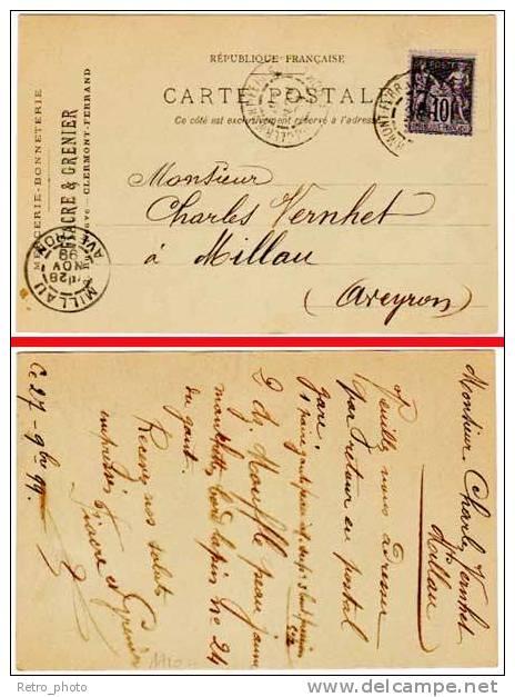 Clermont-Ferrand, CPa Précurseur, 1899, Pub Mercerie-Bonneterie Fiacre & Grenier (adressée à Millau) - Clermont Ferrand