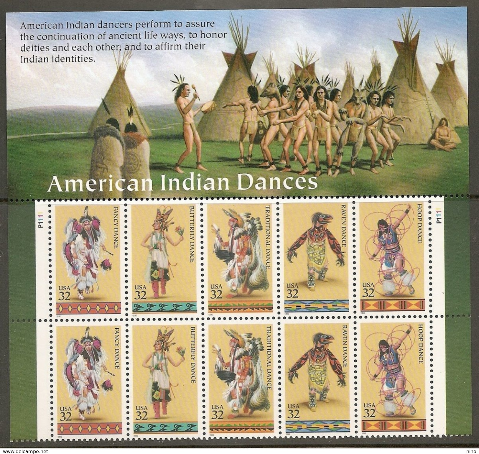 USA. Scott # 3072-78  MNH Plate Block Of 10. American Indians 1996 - American Indians