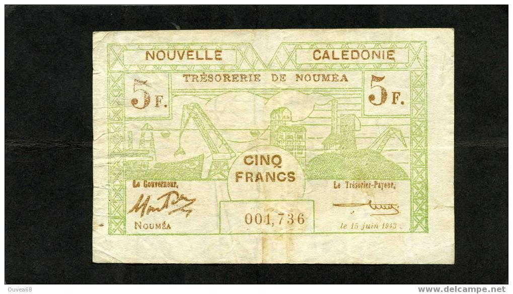 5 Francs Vert Et Brun De Nouvelle Caledonie Année 15/06/1943 - Nouvelle-Calédonie 1873-1985