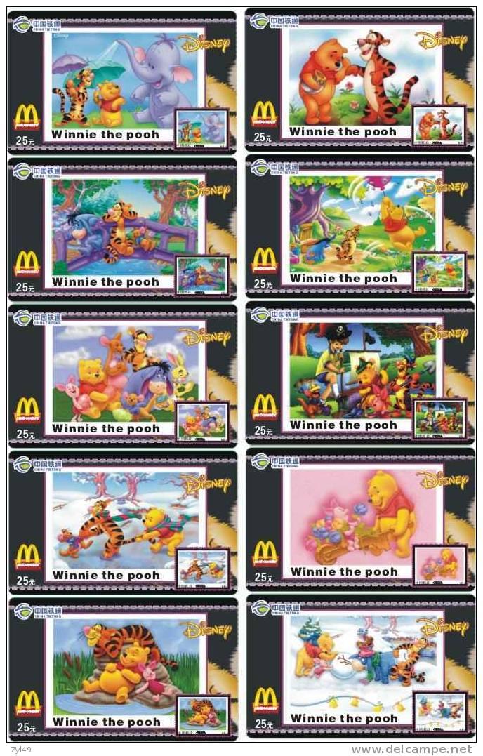 M01191 China Mcdonald's Disney Winnie The Pooh 10pcs - Lebensmittel