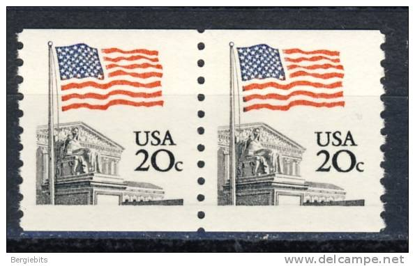 """1981 United States  MNH 20  Cents  """"  Flag Coil Pair """" - Coils & Coil Singles"""