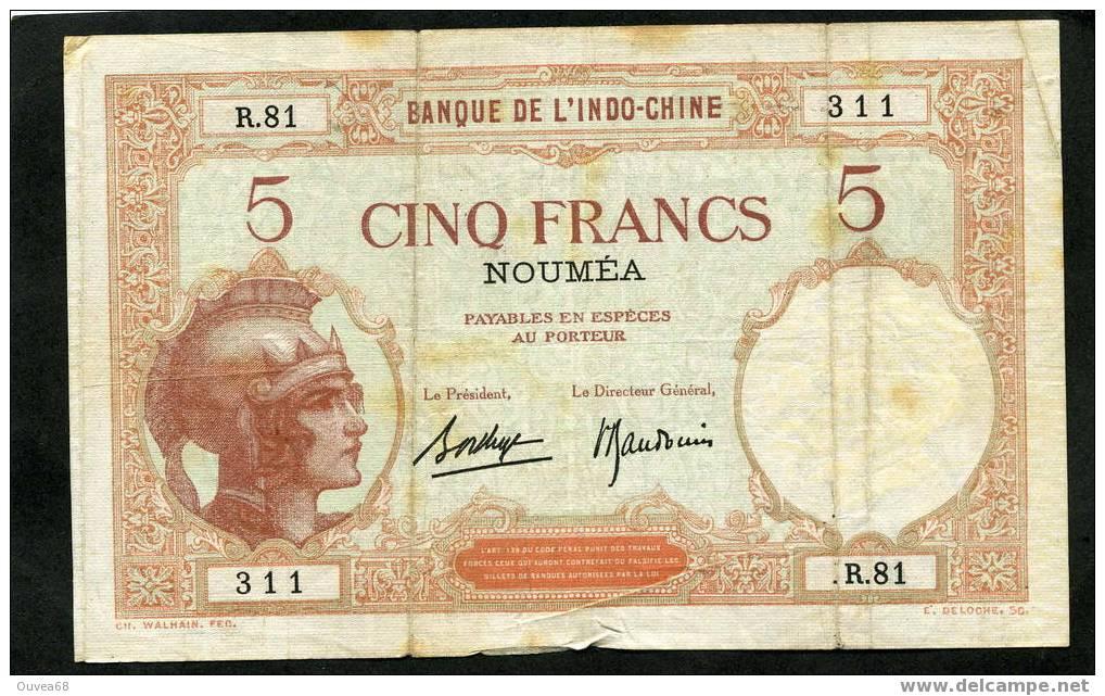 """Billet De 5 Francs """" Walhain """" Type 1926 Nouvelle Calédonie - Nouvelle-Calédonie 1873-1985"""