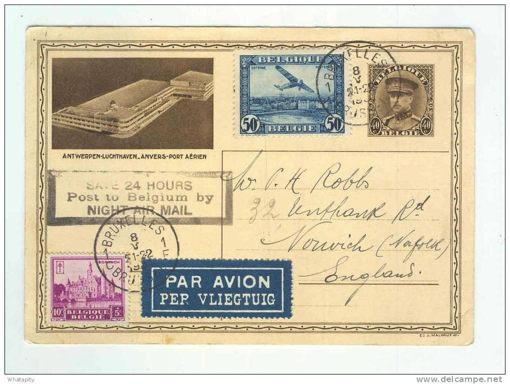 Carte Illustrée Képi Aéroport Anvers + TP Complémentaires PAR AVION 1931 Vers GB - TARIF GRATUIT VOLS DE NUIT --  B3/990 - Enteros Postales