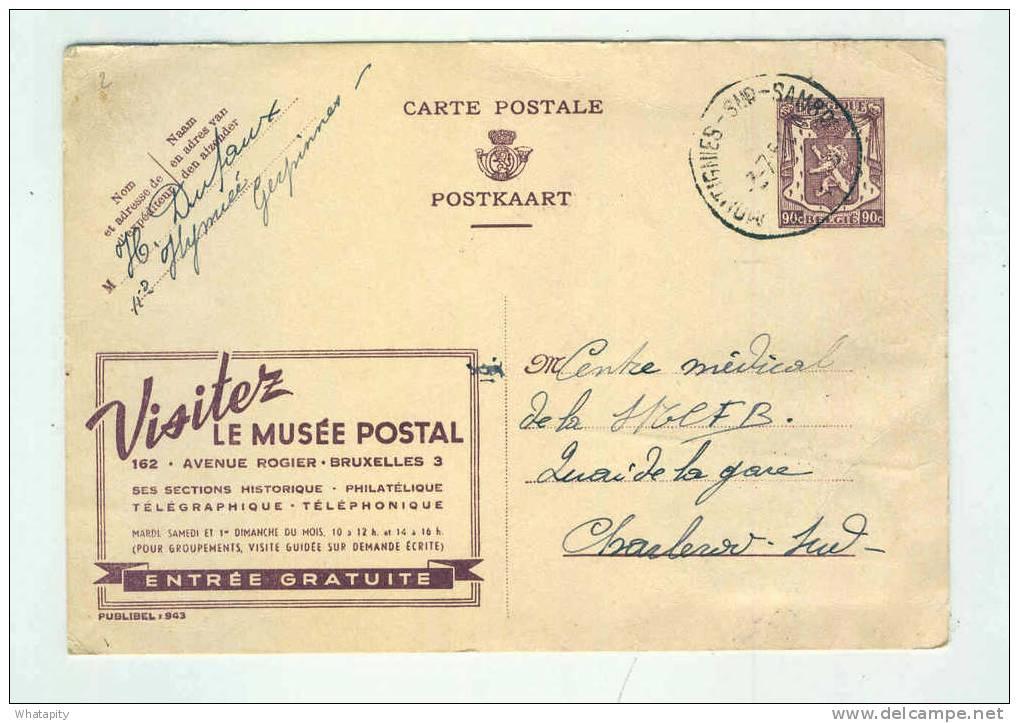Carte PUBLIBEL 943 Musée Postal - MONTIGNIES Sur SAMBRE 1951 - Verso TP Chemin De Fer 4 F CHARLEROI  --  B3/993 - Publibels