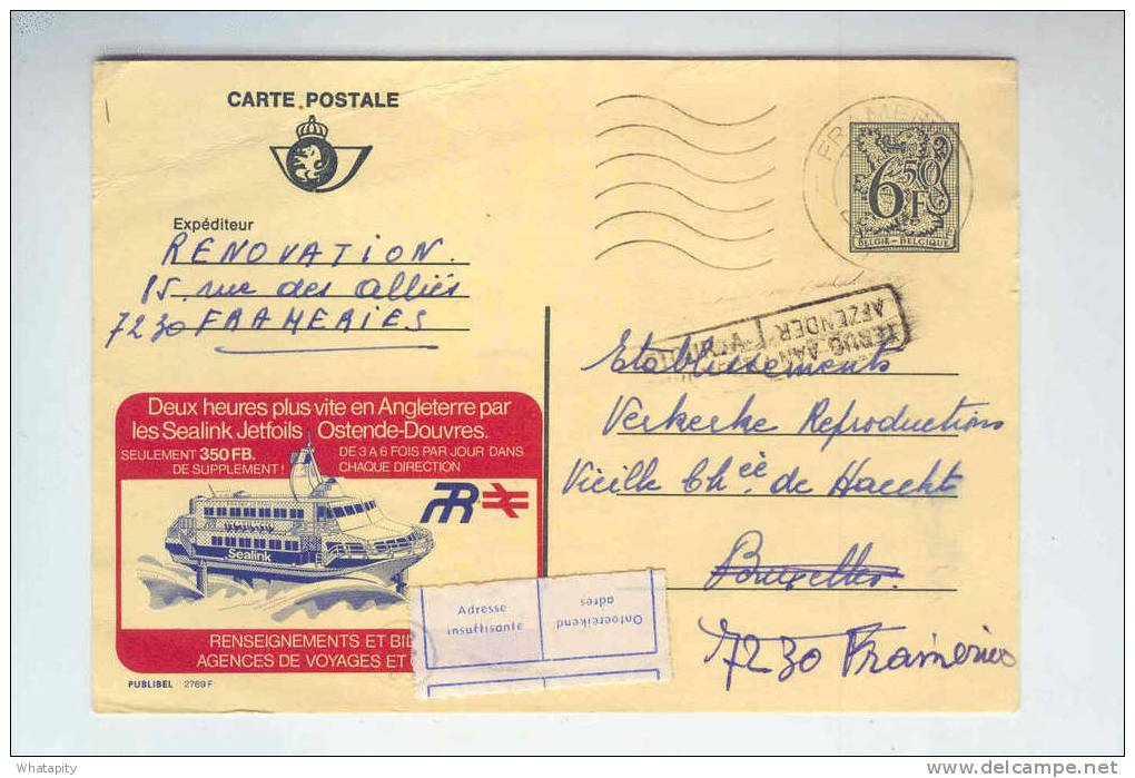 Carte PUBLIBEL 2769 F FRAMERIES 1981 Vers BRUXELLES - Etiquette Adresse Insuffisante  Cachet RETOUR Envoyeur  --  B3/997 - Stamped Stationery