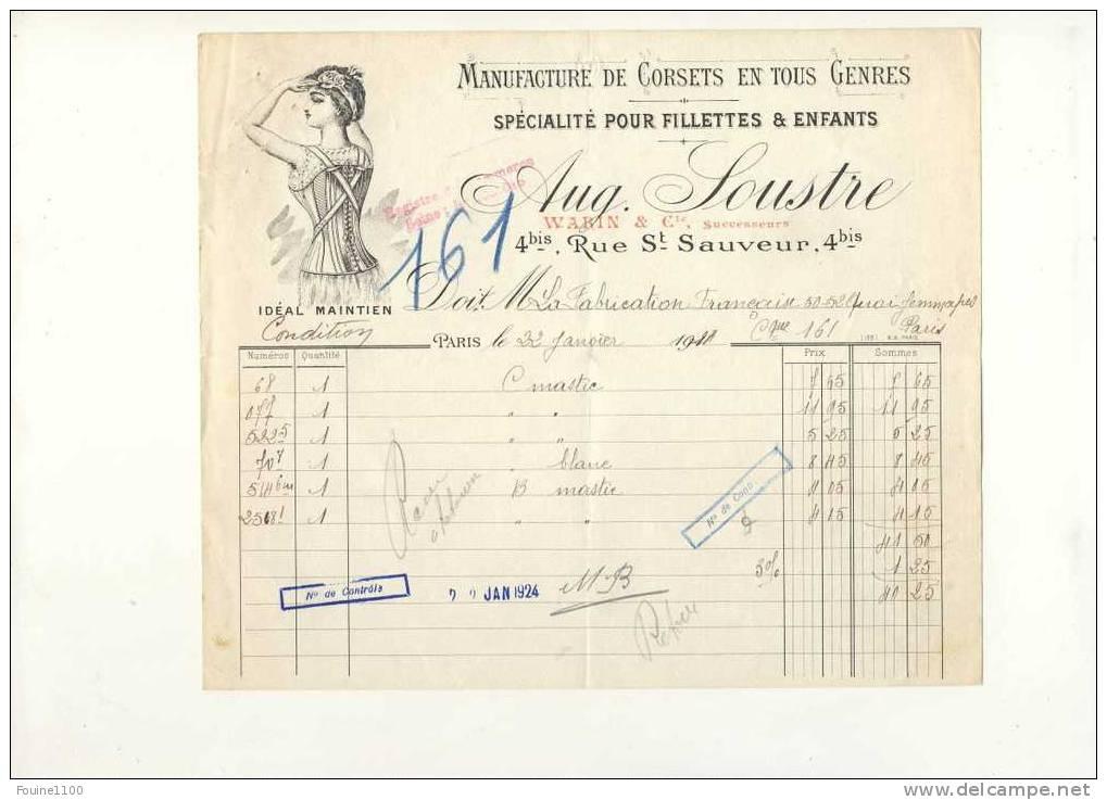 Facture Illustrée De Manufacture De Corsets SOUSTRE 4 Bis Rue Saint Sauveur à Paris 1924 - France