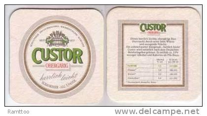 Custor Schultheis Brauerei Koblenz , Obergärig - Bierdeckel