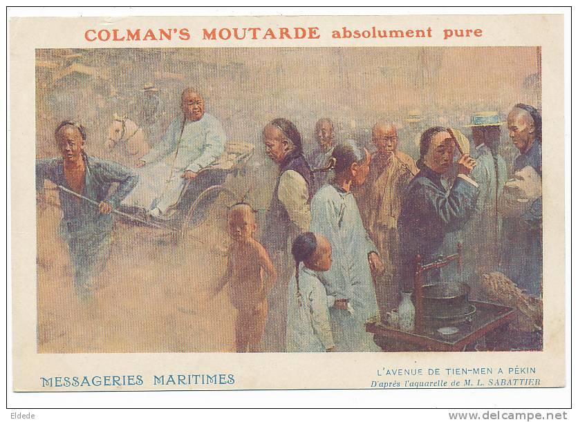 Pekin Peking  Advert MM, Messagerie Maritimes Tien An Men Sabattier , Colman's Moutarde - Chine