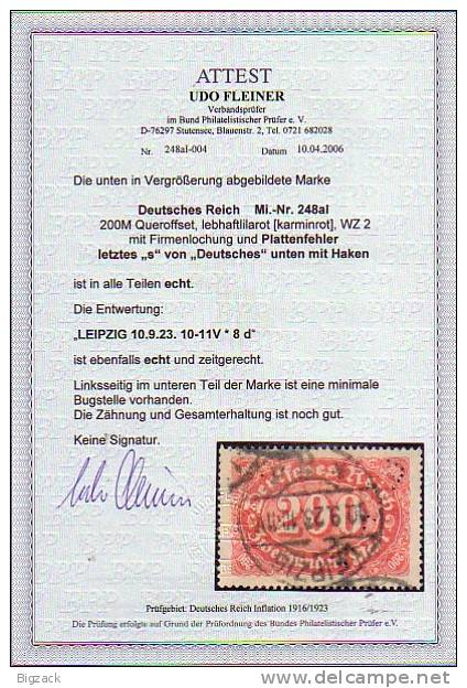 DR Minr.248a Plf.I Gestempelt Attest - Deutschland