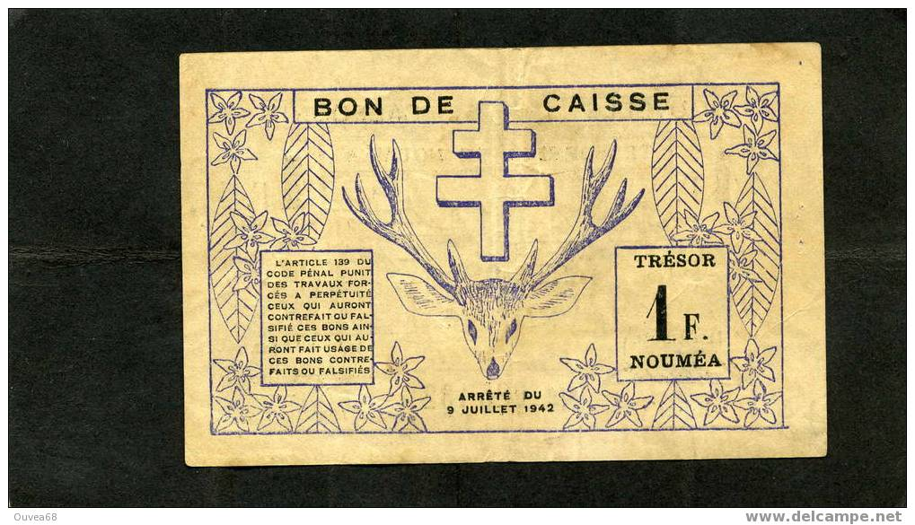 1 Franc Violet Et Noir De Nouvelle Caledonie Du 15/07/42 - Nouvelle-Calédonie 1873-1985