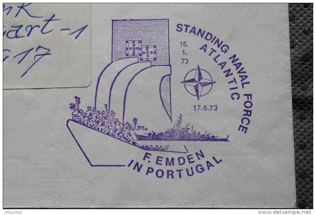 BATEAU NAVIRE GUERRE BOAT SHIP WAR FREGATE EMDEN STANDING NAVAL FORCE ATLANTIC PORTUGAL MARCOPHILIA LETTRE: - Marcophilie