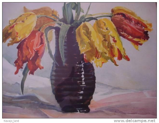 Belle Aquarelle Ancienne Sous Verre Bouquet De Tulipes, Signée - Aquarelles