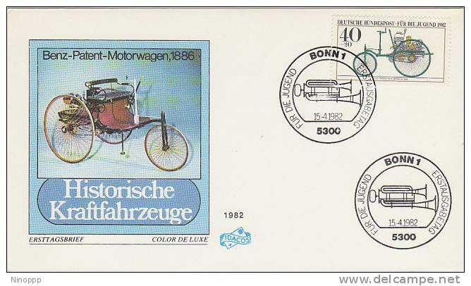 Germany-1982 Historic Cars,40+20ph Benz-Patent Motorwagen 1886  FDC - Cycling