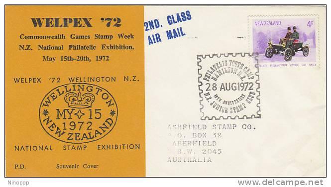 New Zealand-1972 Welpex 72, Cars, Souvenir Cover - Cars