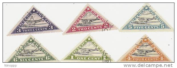 Liberia-1936 Air Mail Planes Used Set - Airplanes