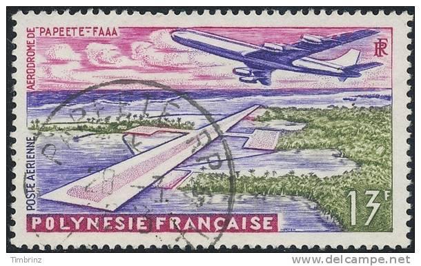 POLYNESIE 1960 - Yv. PA 5 Obl.  Cote = 2,50 EUR - Aéroport Faaa De Papeete ..Réf.POL10801 - Gebruikt