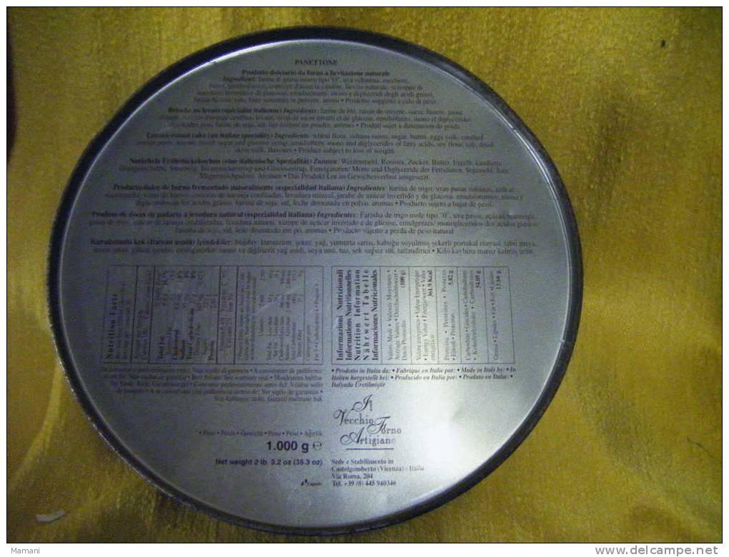 Boite Metal Vide-diametre 22cm Hauteur 20.5cm Avec Couvercle-happy New Year-nouvelle Annee Heureuse-enfant-oiseau-neige - Other Collections