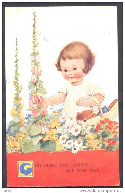 Cute Girl With Teddy - Artist Signed Mabel Lucie Atwell - Bambini