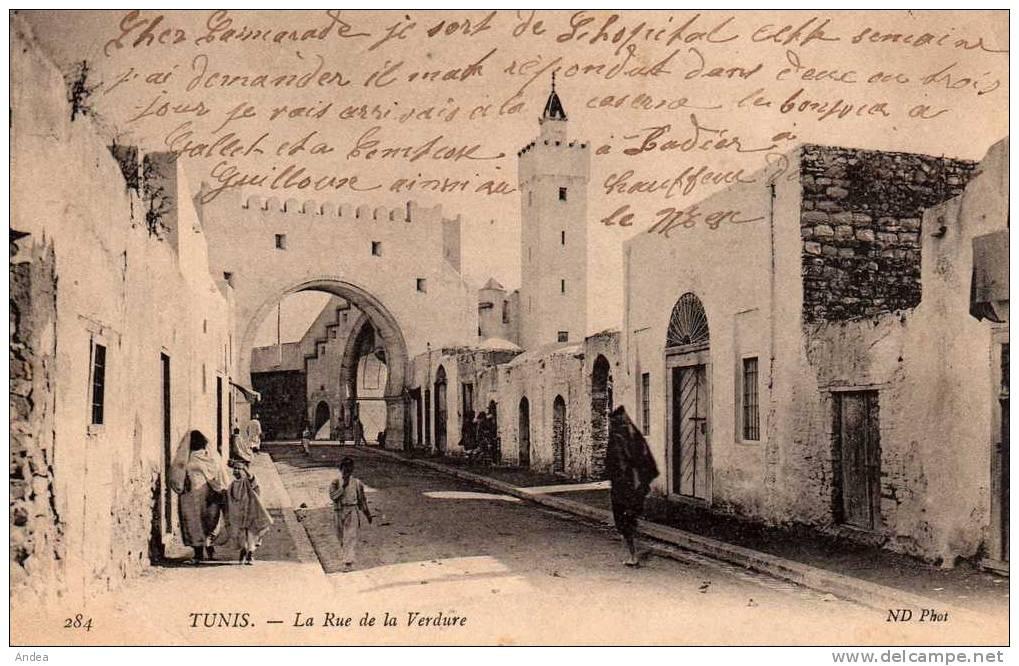 CPA..TUNIS...RUE DE LA VERDURE...PRIX: 1,49 € - Tunisie
