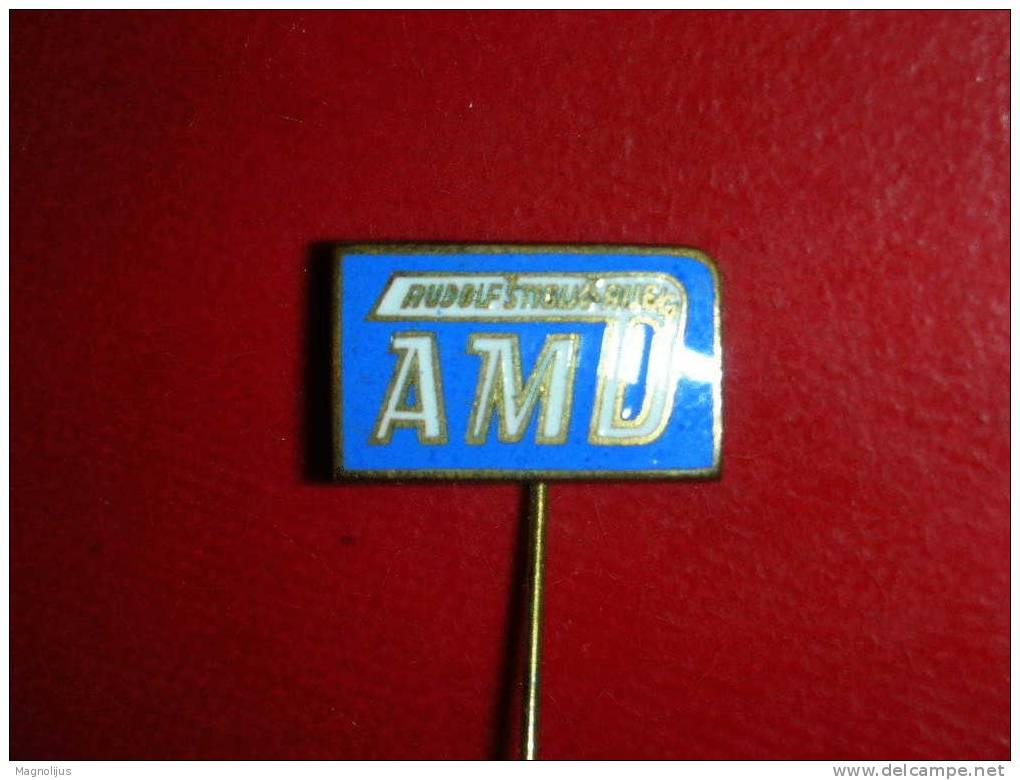 Pins,Badge With Needle,Auto-Moto Club,AMD,Rudolf Stiglic,Croatia,Rijeka,Enamel,Emaille,vintage - Badges