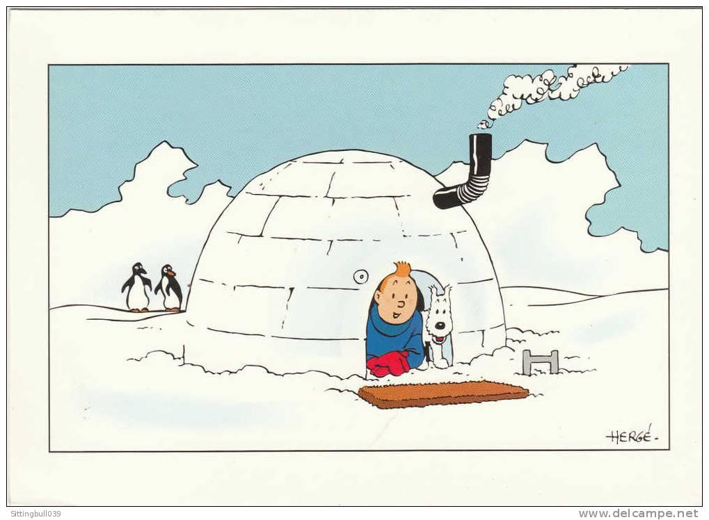 TINTIN ET MILOU DANS UN IGLOO. Carte Double. Hergé Moulinsart. Années 90 - Cartes Postales