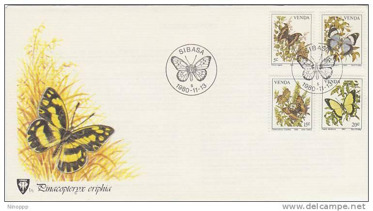 Venda-1980 Butterflies FDC - Butterflies