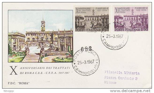 Italy-1967 Rome Treaty 10th Anniversary FDC - Collections