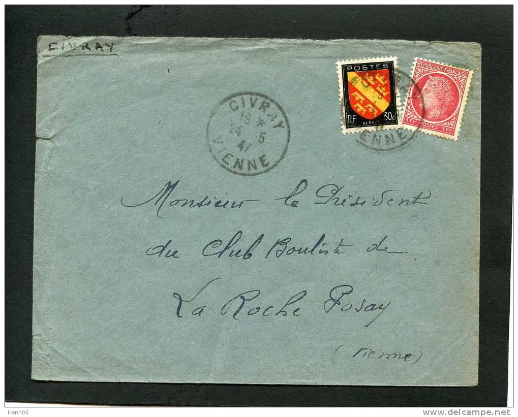 =*= Mazelin+Blason 676+756 S/lettre Au Tarif Imprimés (100 Jours)  Civray>>>>La Roche Posay  14 5 47 Manque Le Rabat =*= - France