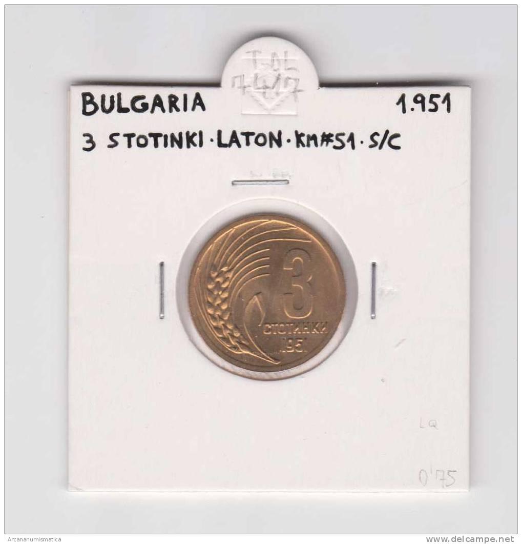 BULGARIA  3 STOTINKI  1.951  LATON  KM#51   SC/UNC      DL-7417 - Bulgaria