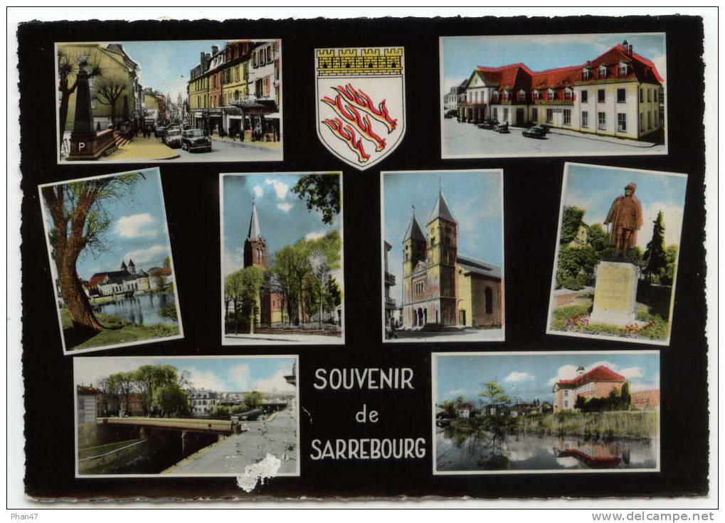 SARREBOURG (Moselle),Souvenir De.. Grand´Rue, Gare, Casino, Temple, Monument Du Gal MANGIN, Cours Complémentaire, Blason - Sarrebourg