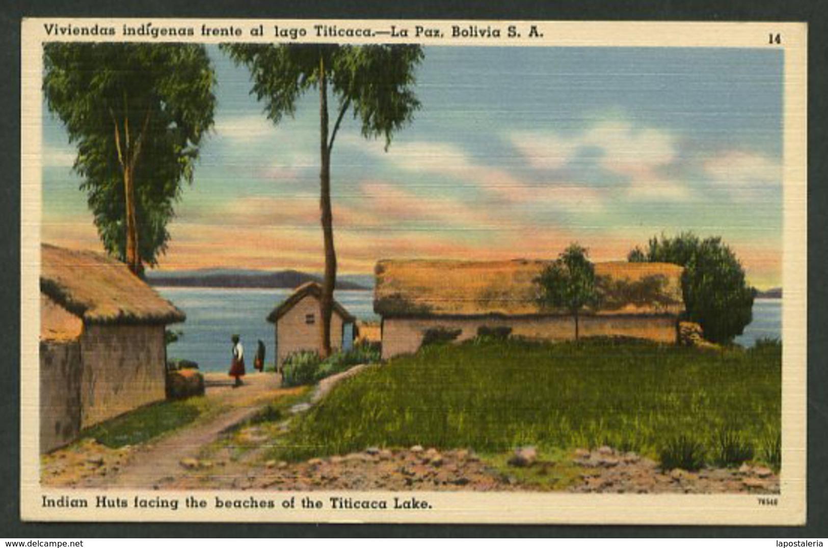 La Paz. *Viviendas Indígenas Frente Al Lago Titicaca* Ed. Tichnor Bros Nº 14-78540. Nueva. - Bolivia