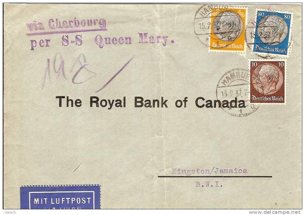 ALLEMAGNE LETTRE POUR LE CANADA PAR LE  S-S QUEN MARY 1937 - Deutschland